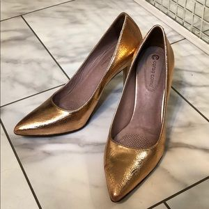 Rose Gold Corso Como pointed toe heels.